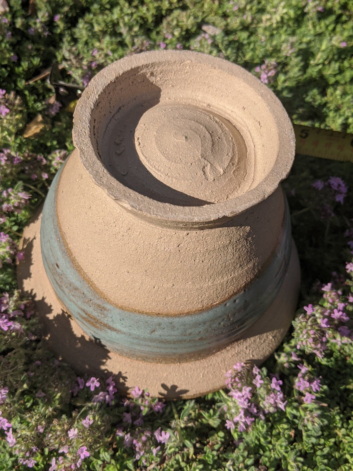 Hand-turned clay planter, artist signed