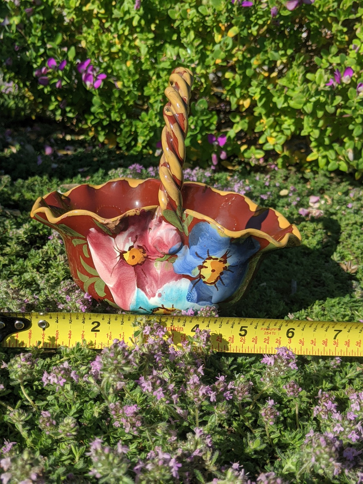 Hand-painted, limited production vintage Italian basket planter