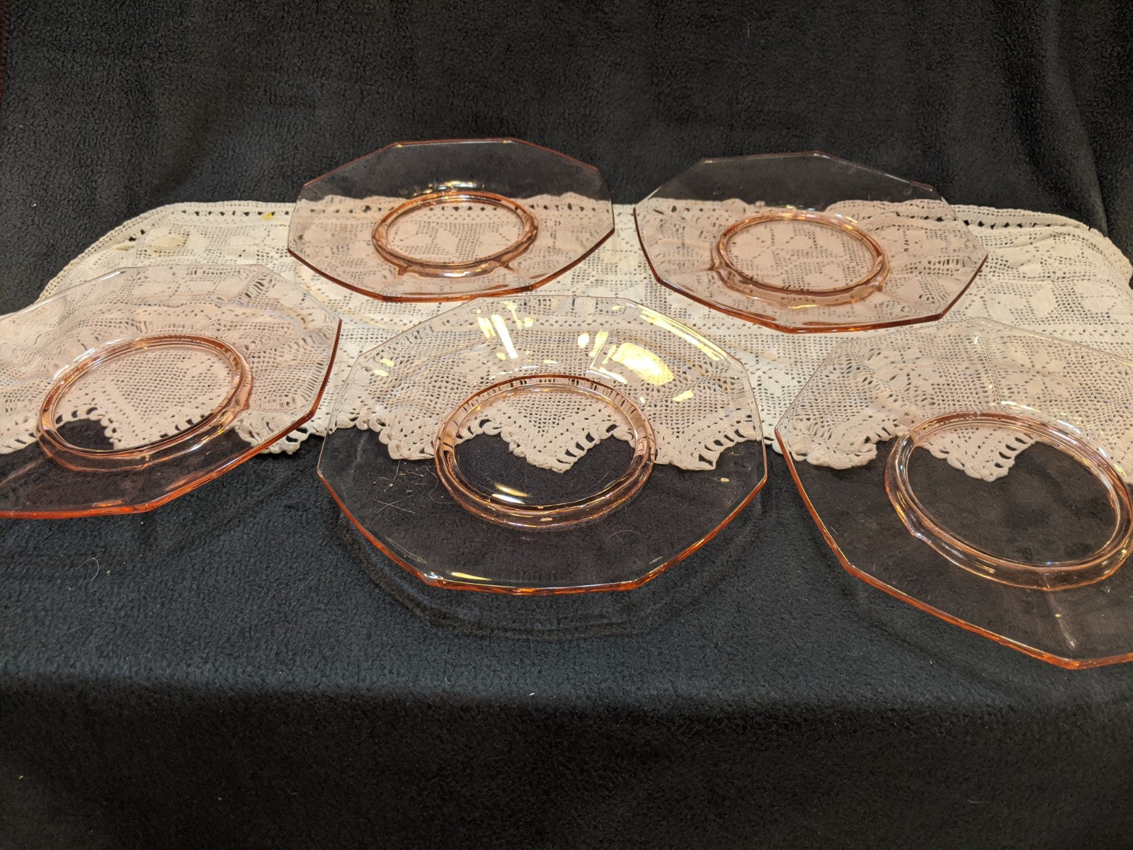 Pink Glass eight-sided salad plates, set of five