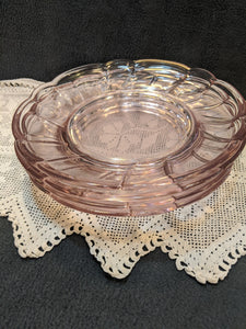 Pink Glass daisy salad plates, set of four