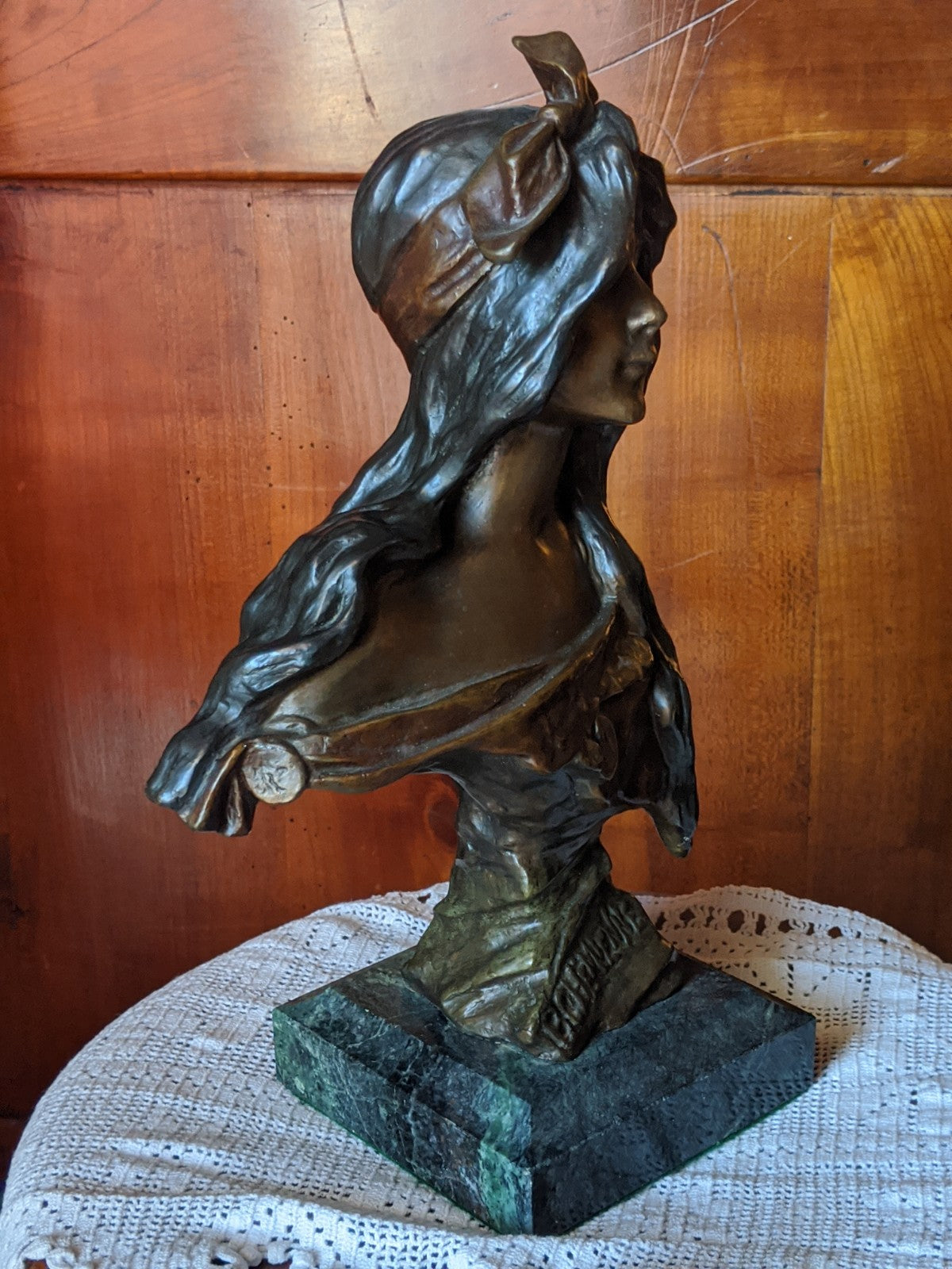 Vintage Bohemienne Bronze Bust of a young woman