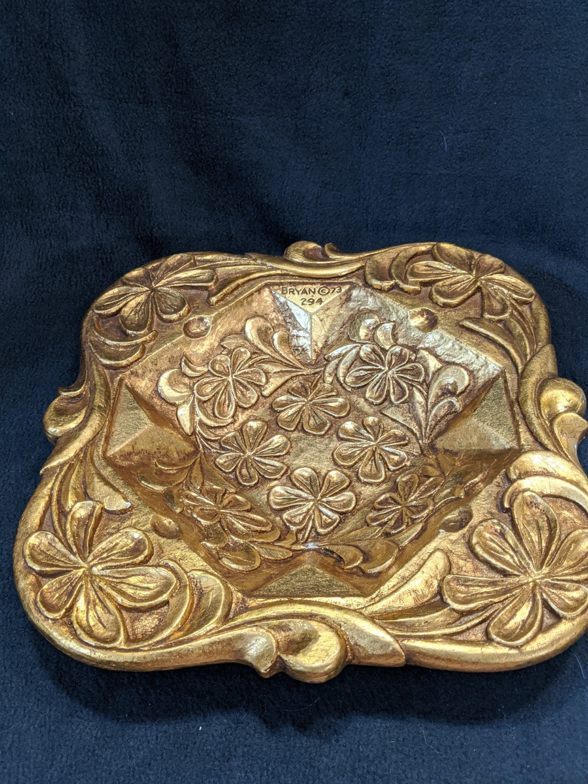 Gold-Painted, artists signed, numbered Cigar Ashtray, 1973