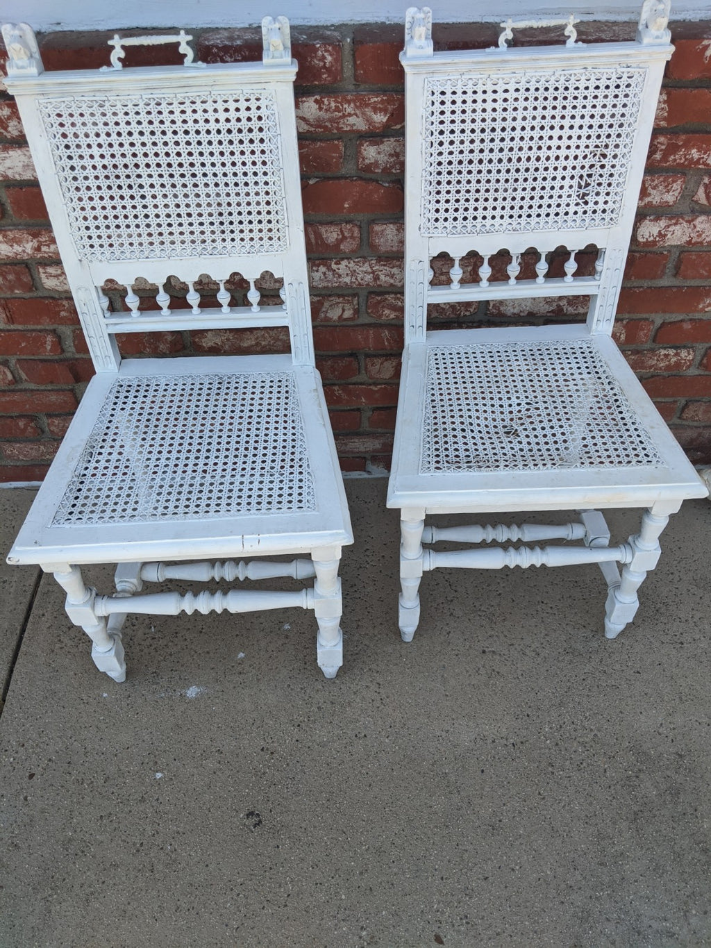 White painted wicker-seat chairs, pair