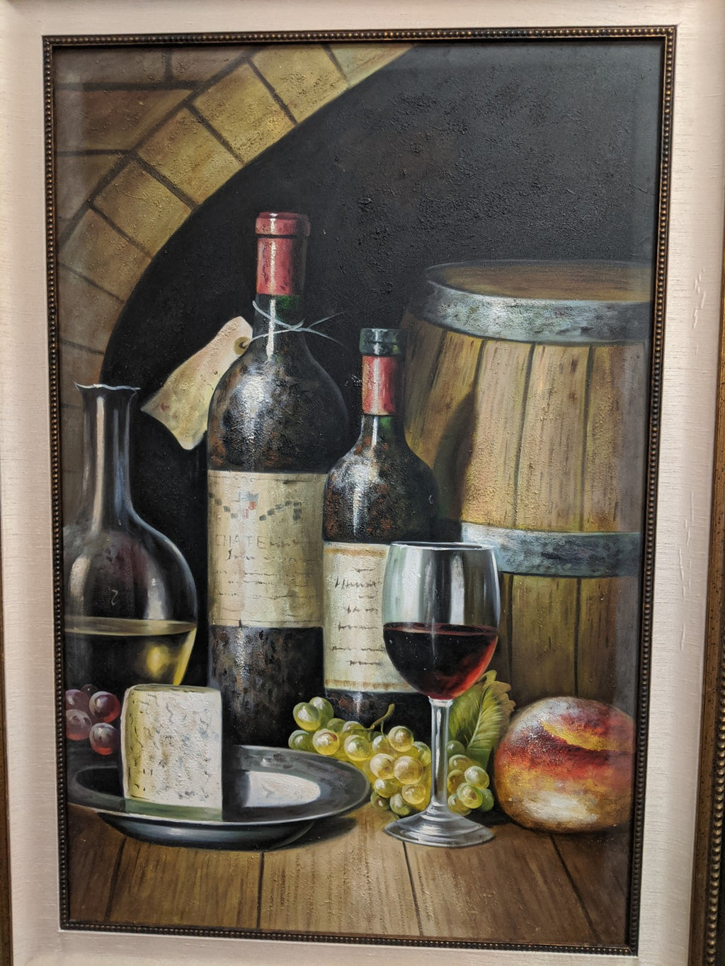 Blue Cheese and Red Wine Still Life framed art