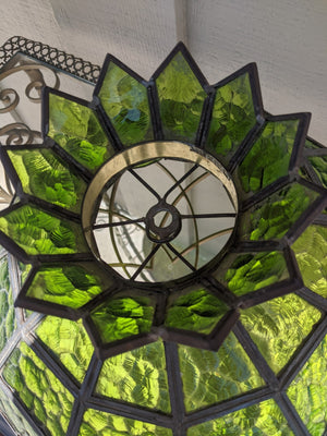 Vintage 70's Green Stained Glass Pendant Lamp Shade