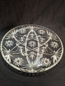"Vintage crystal glass 13.5"" etched serving round"