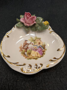 Antique Dresden Ring Tray, N under a crown