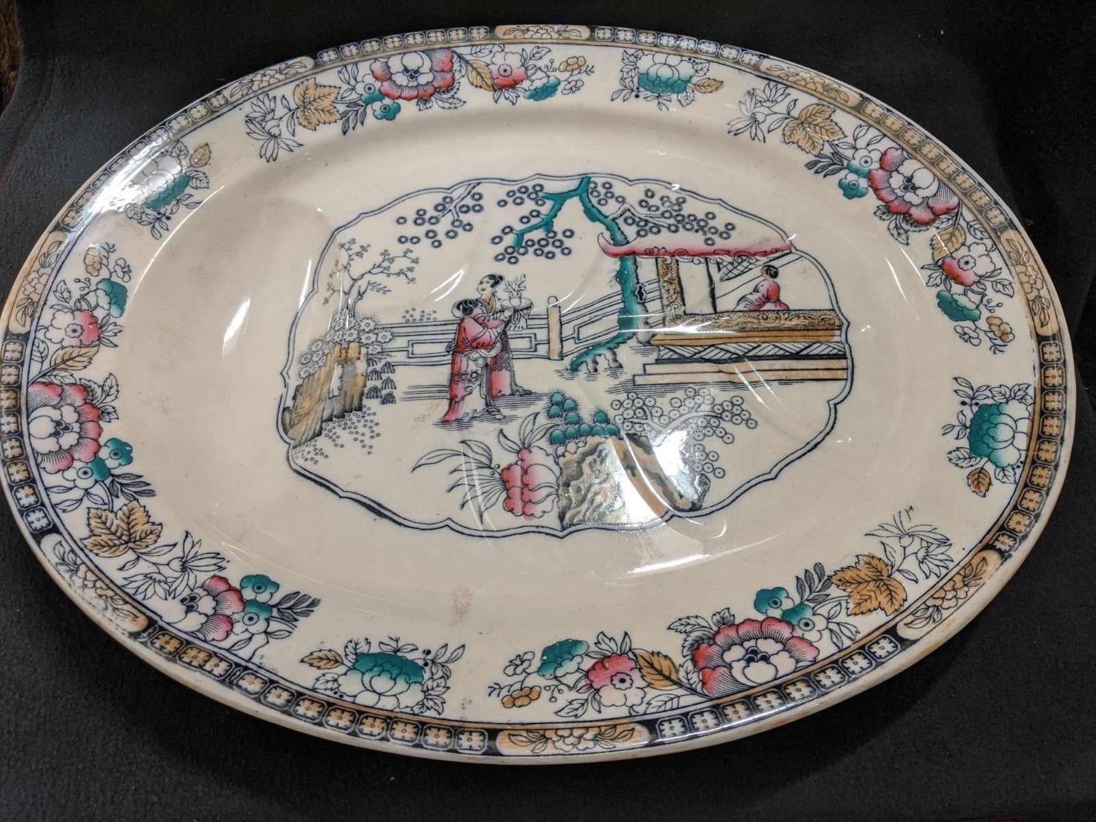 Ashworth Brothers Antique ceramic serving platter, pattern #16210