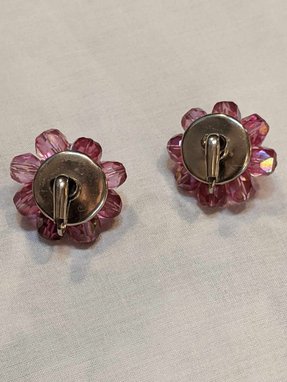 Vintage Costume Clip-on earrings, pink crystals (plastic)