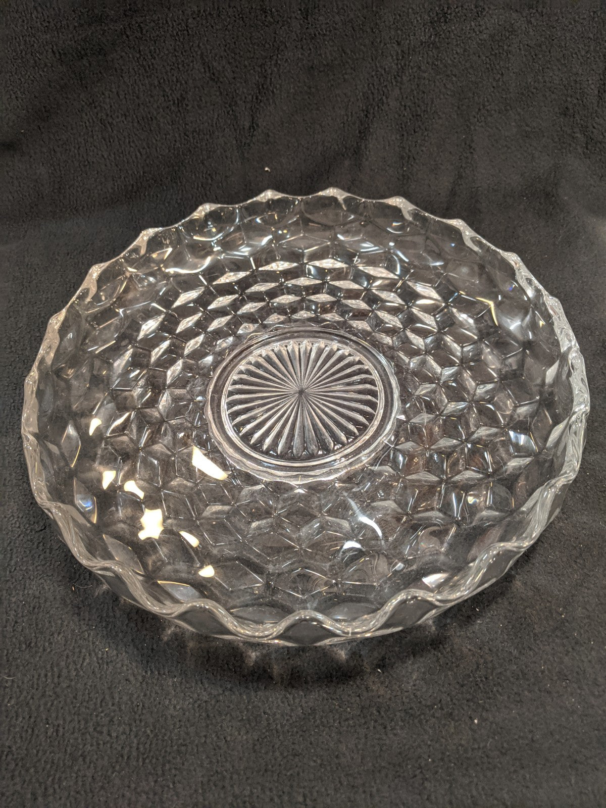 "Vintage Crystal Glass 12"" Serving Dish"