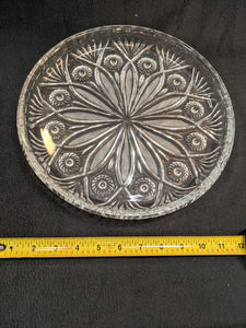 "Vintage crystal glass 11.5"" etched serving round"