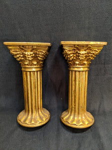 Gold Column-style candle holders