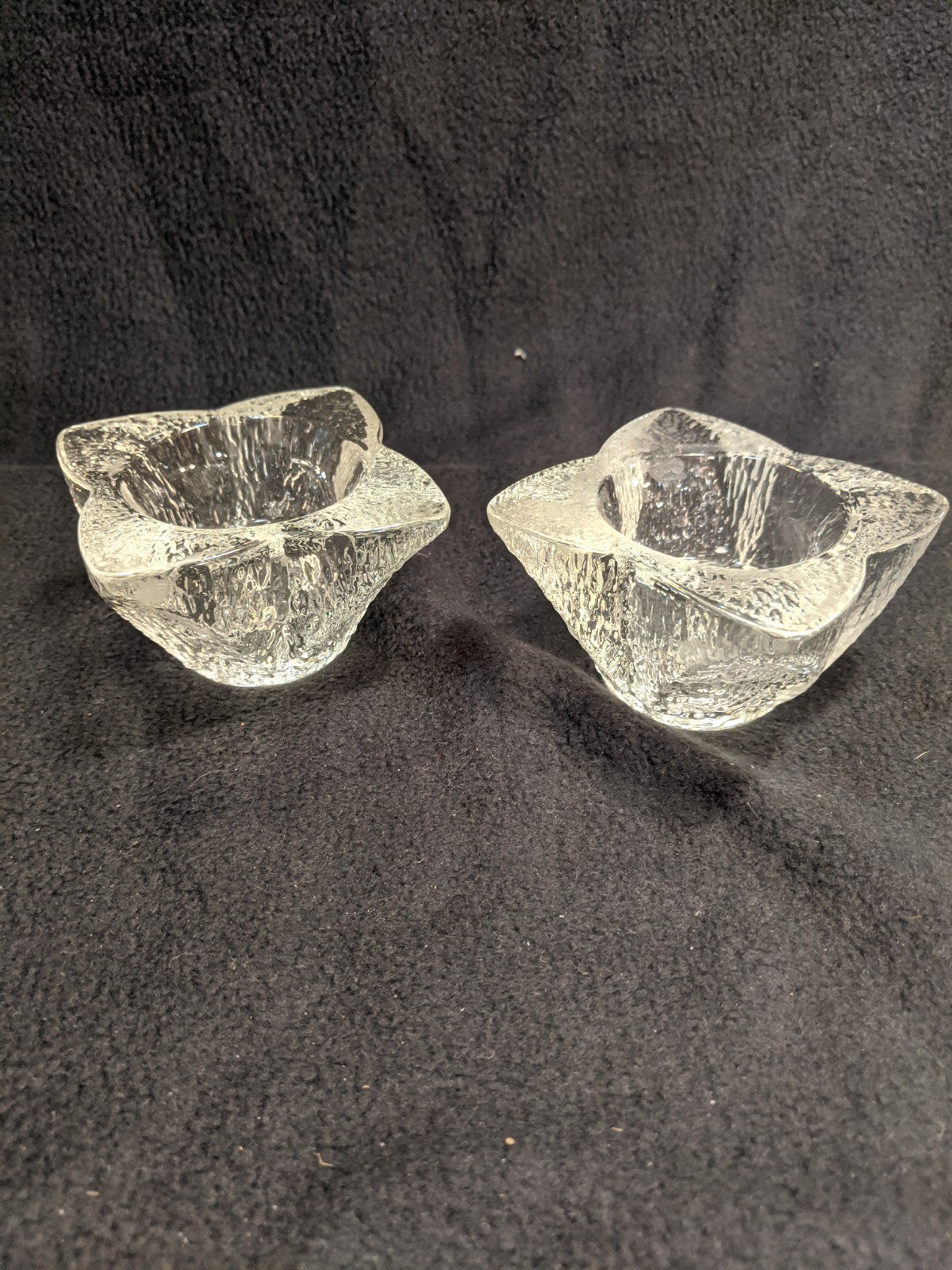 Glass four-leaf, double-size candle holders
