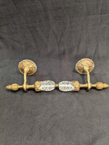 Antique brass and crystal hand towel rod