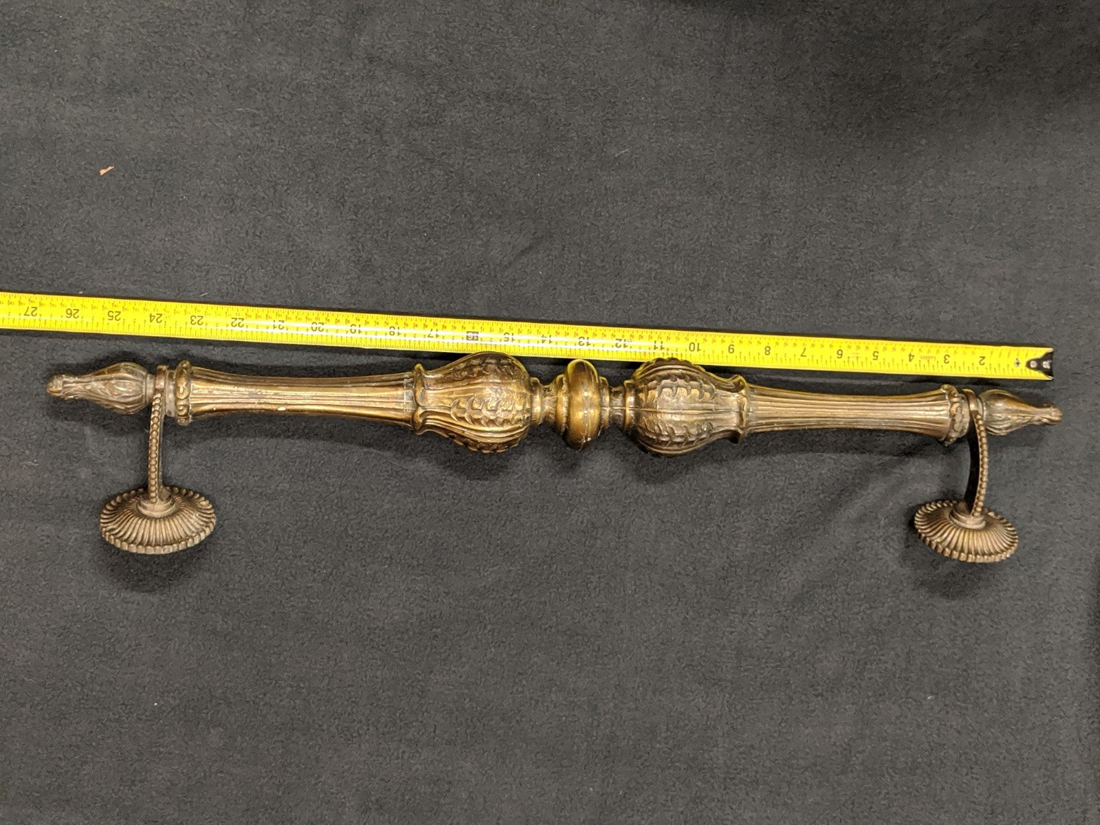 Antique solid brass towel rod