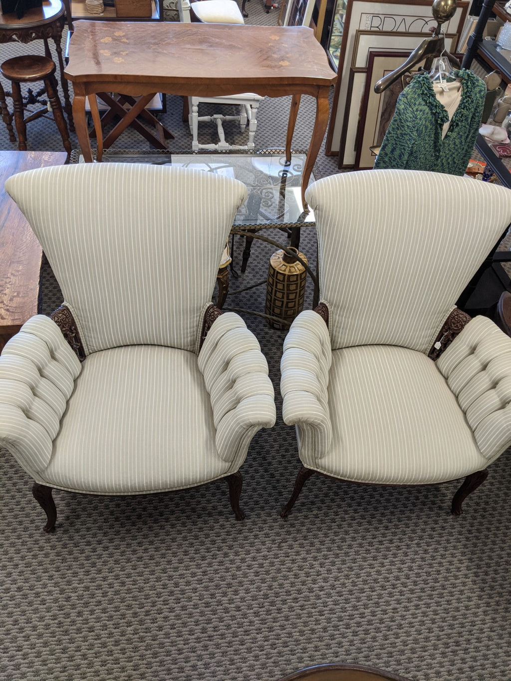 Vintage High-back arm chairs, pair