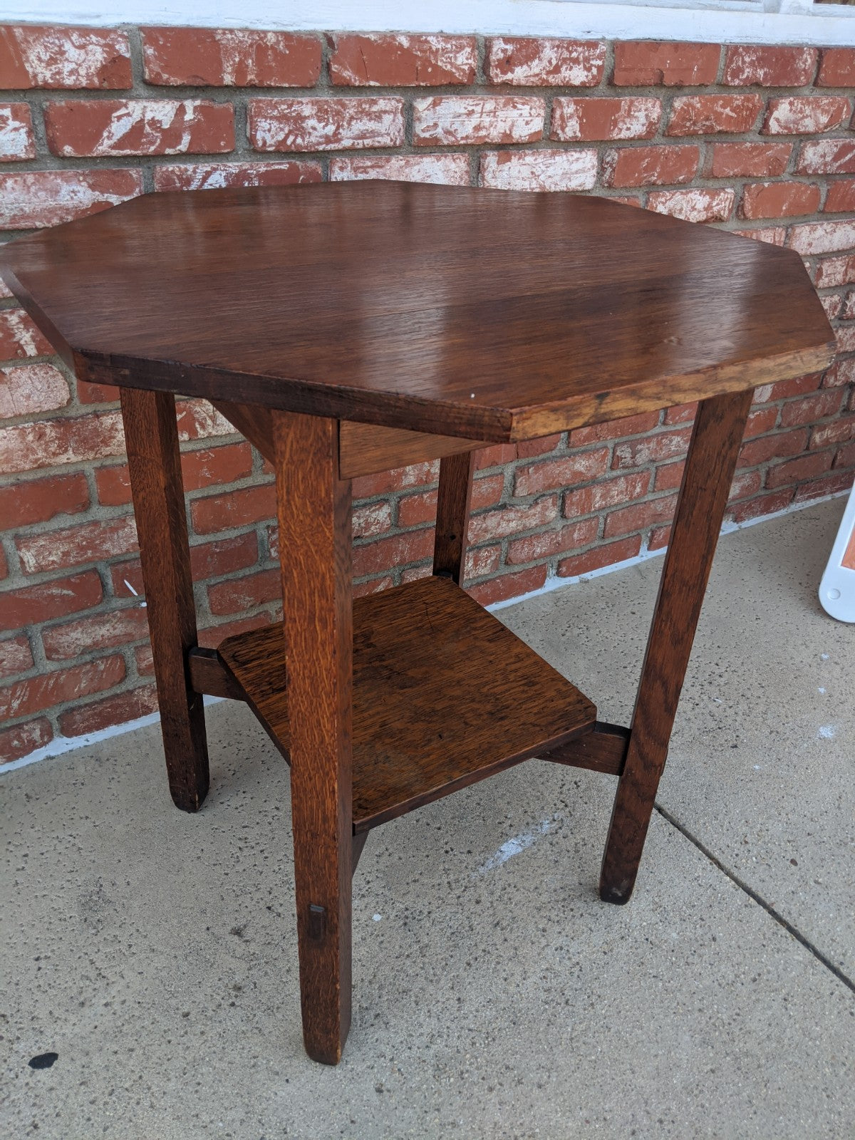 Antique octagonal, two-tiered, oak side table