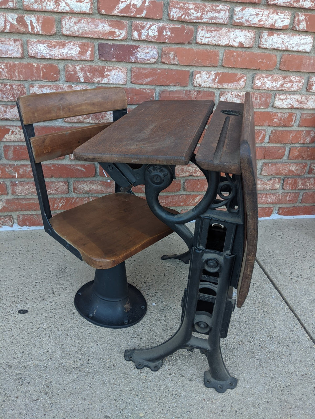 Antique very small child's school desk and chair, American Seating Co.