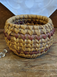 Native American grass-weave basket w purple stripes