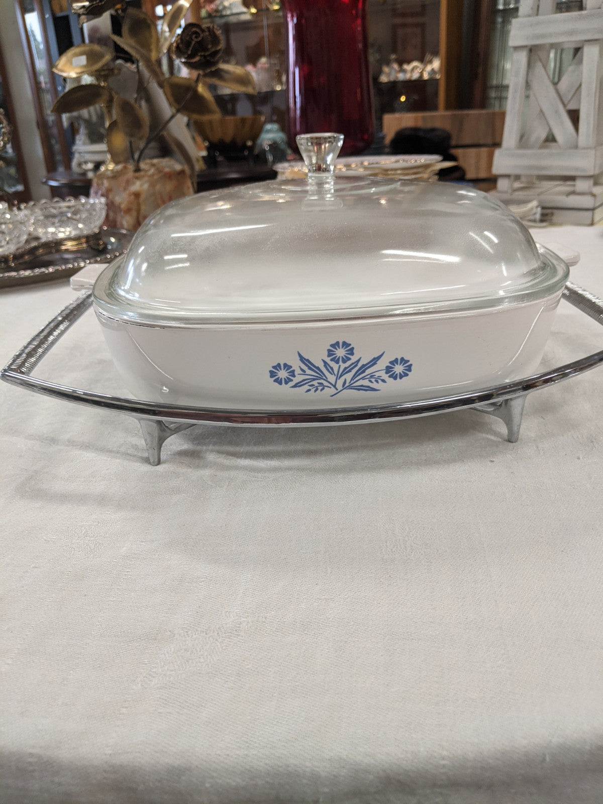 "Vintage '70's blue cornflower Corning 11"" baking dish and cooling rack,"
