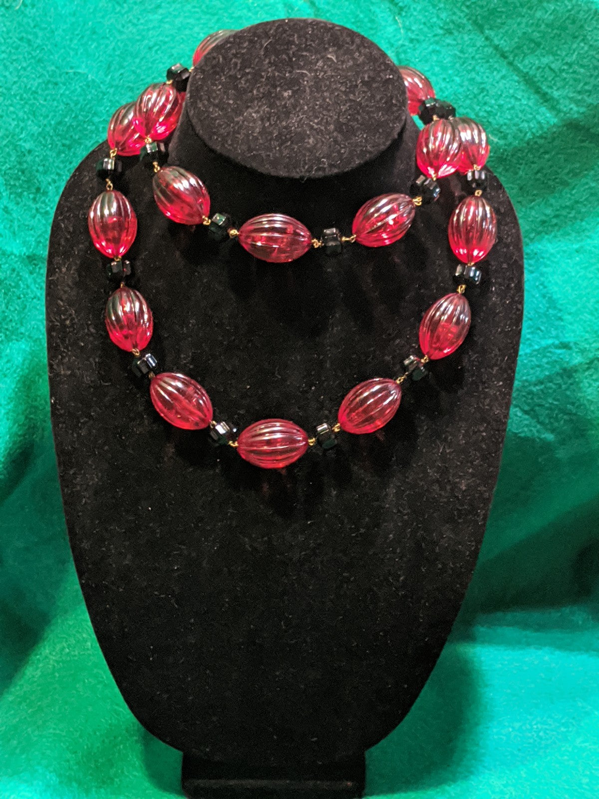Vintage costume jewelry necklace, red glass