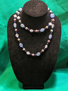 Vintage costume jewelry necklace, blue ice