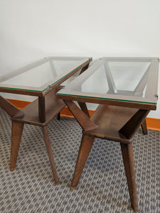 Vintage mid-century glass-top side tables, pair