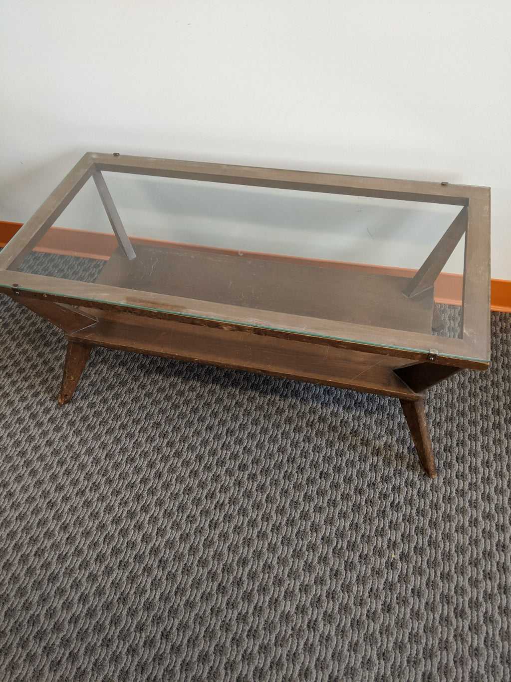 Vintage mid-century glass-top coffee table