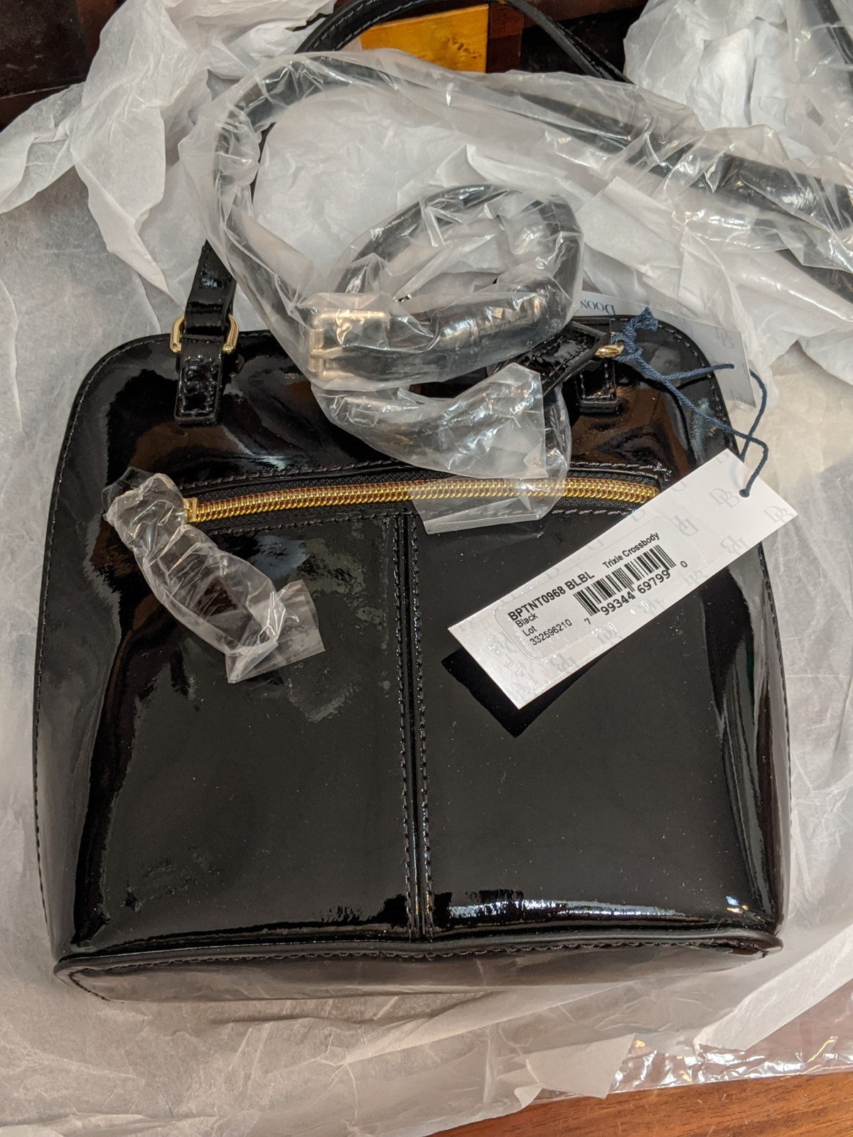 Dooney & Bourke Black patent leather crossbody trixie purse