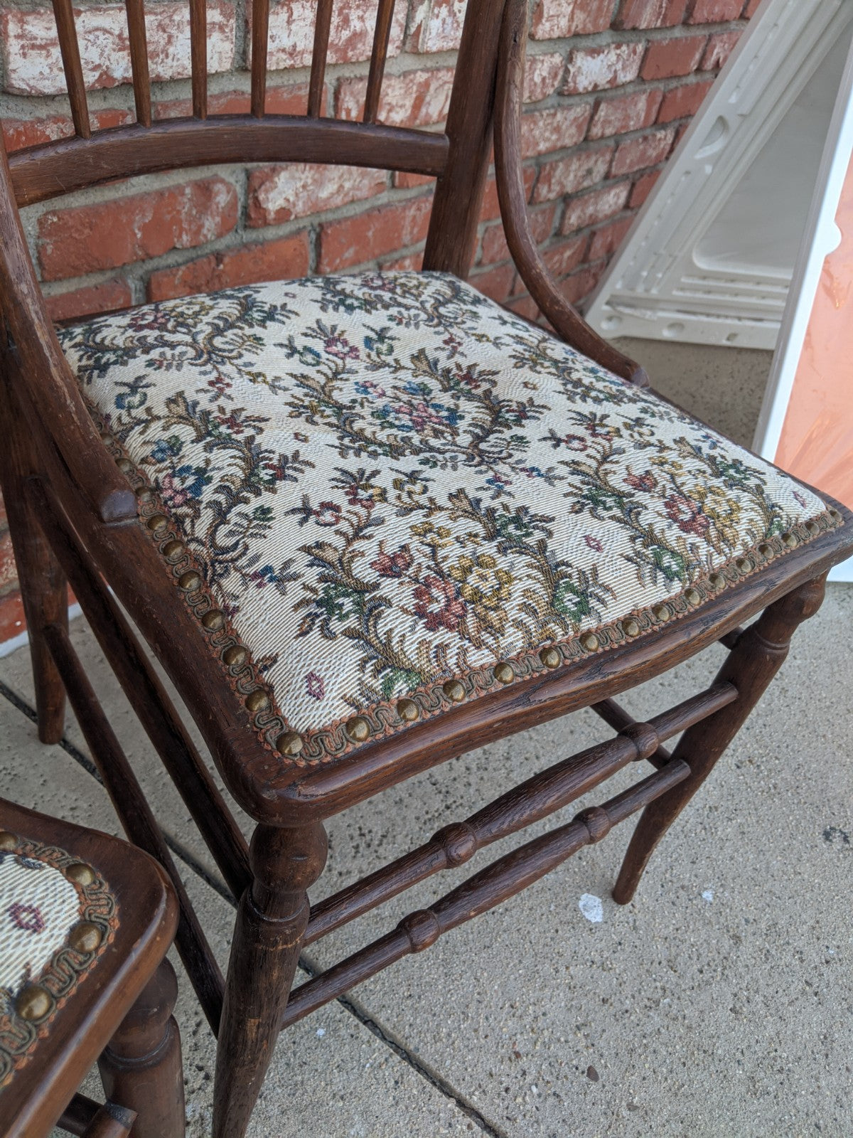 Antique wooden side chair w tapestry upholstered seat