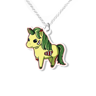 Zombie Unicorn necklace small