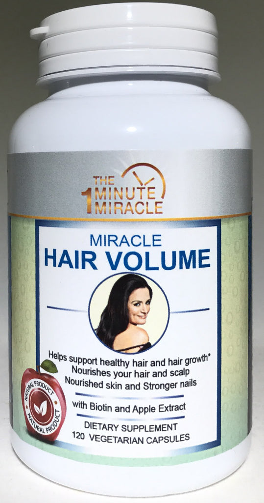 MIRACLE HAIR VOLUME - 120 Capsules -With Biotin, Apple Extract, Millet Extract and Horsetail Extract.