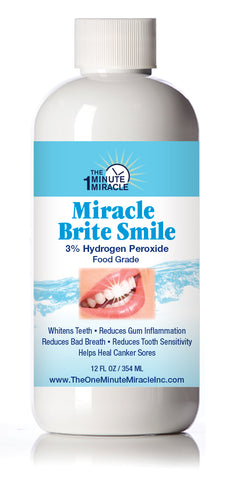 Miracle Brite Smile - Essential Oxygen Organic Rinse Mouthwash for Whiter Teeth, Fresher Breath, and Healthier Gums, Peppermint 12 fl. oz