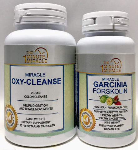 Miracle Garcinia Forskolin Extract 60 Capsules and Miracle Oxy-Cleanse 120 Vegan Capsules