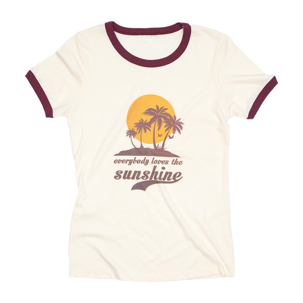 Dweegz: Everybody Loves The Sunshine womens short sleeve ringer tee