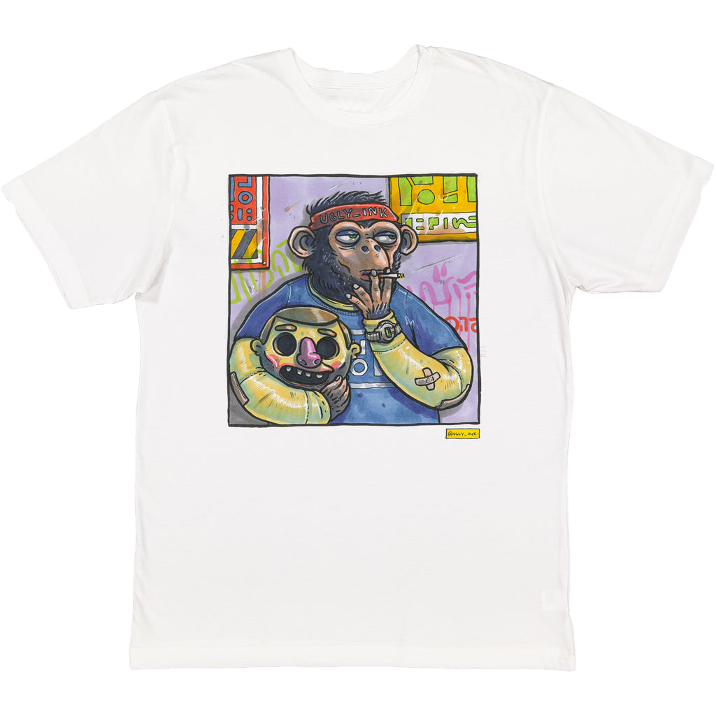Ugly Ink: Ape tee white short sleeve adult tee