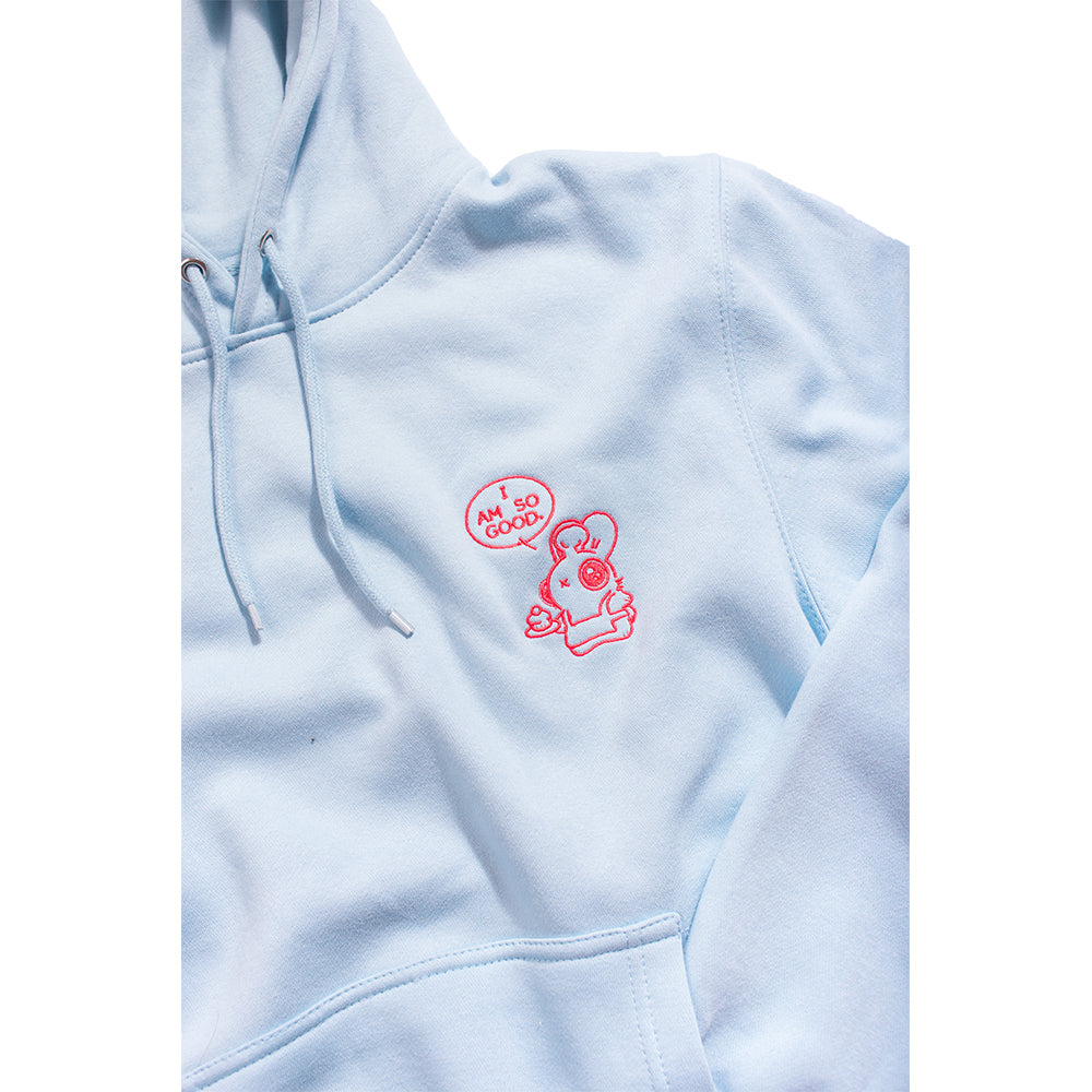 Heathersketcheroos: Baker Bunneh Embroidered Adult Hoodie Lt Blue