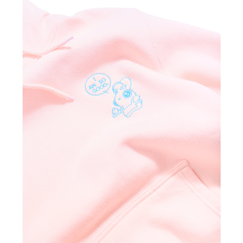 Heathersketcheroos: Baker Bunneh Embroidered Adult Hoodie Fleece Pink