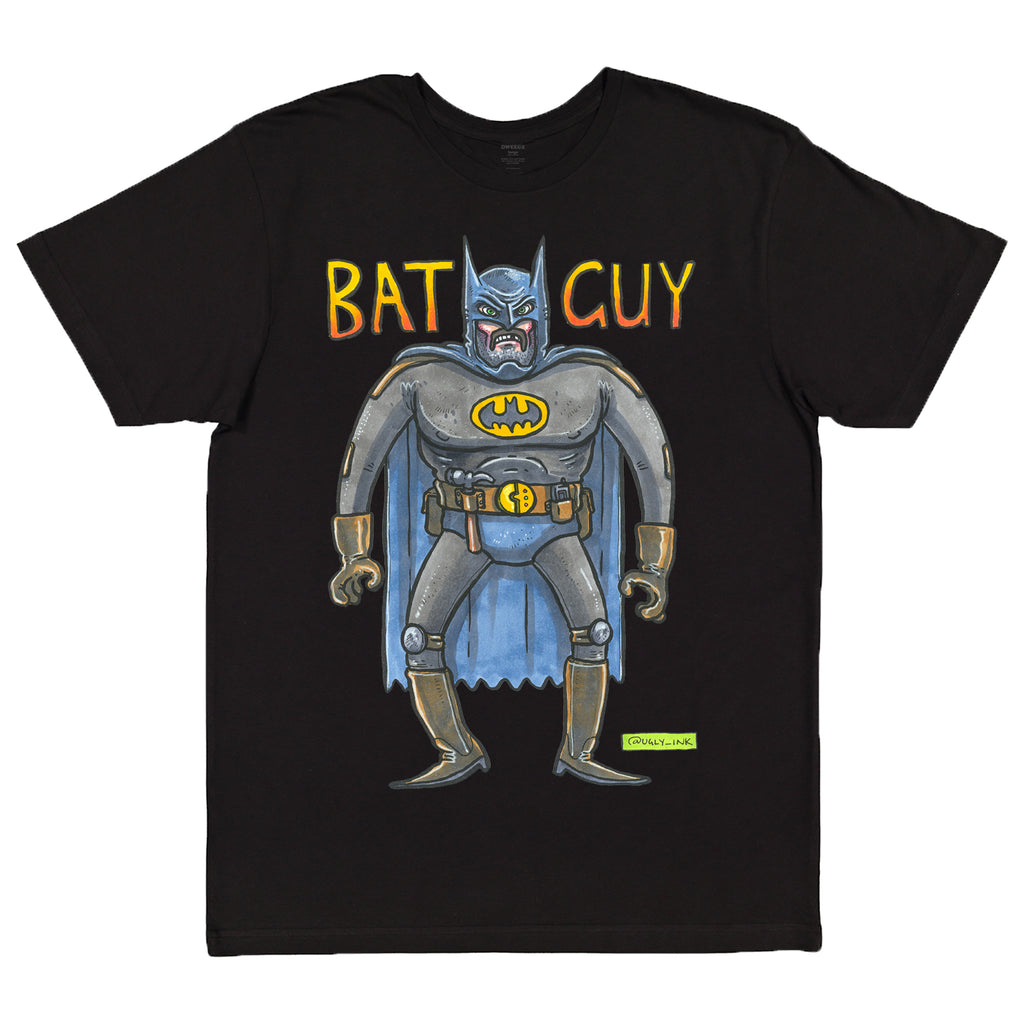 Ugly Ink: BatGuy black short sleeve adult tee
