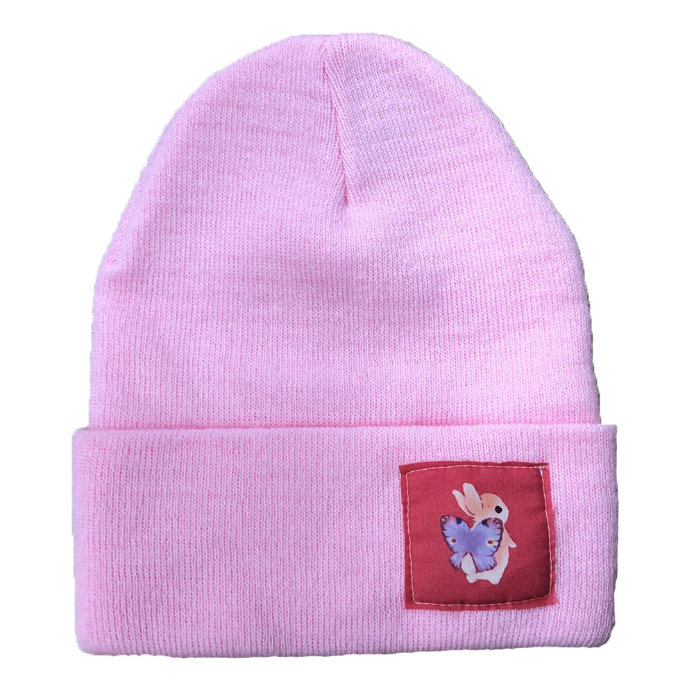 Heathersketcheroos: Beanie- Pink with Bunnerfly
