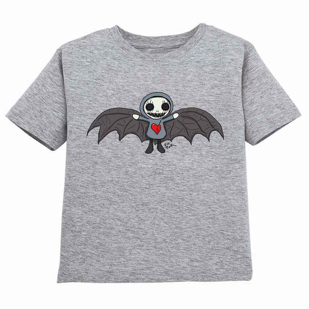 Boogily Heads Bat tee- heather grey
