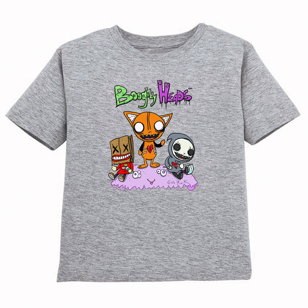 Boogily Heads Trio tee- heather grey