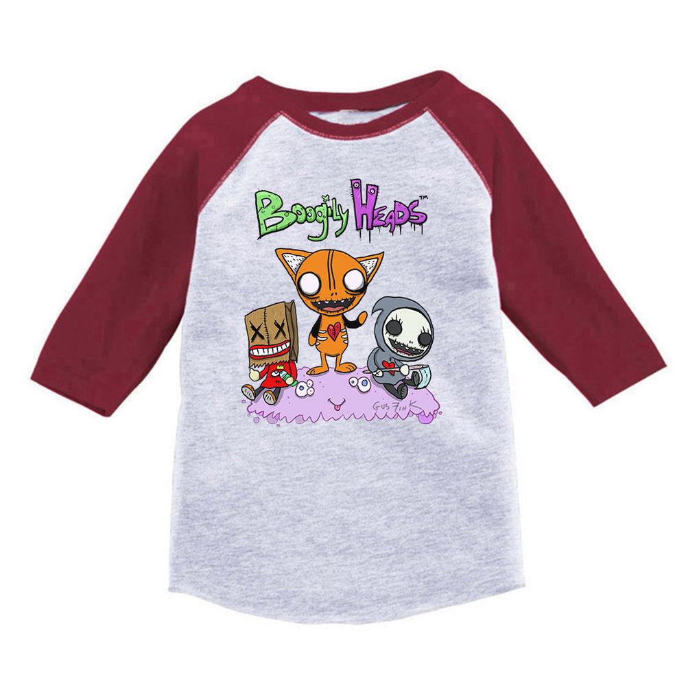 Boogily Heads Trio Raglan tee- heather grey/vintage red