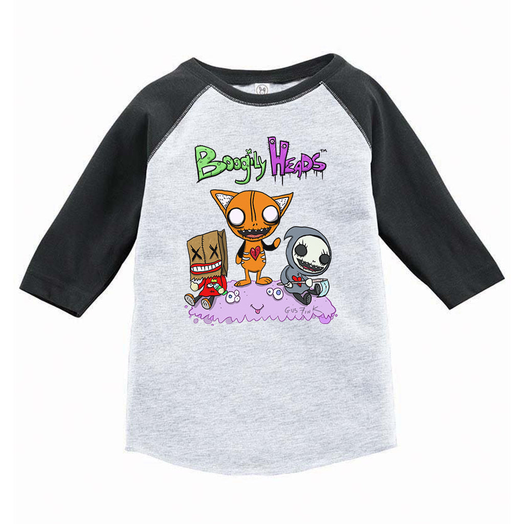 Boogily Heads Trio Raglan tee- heather grey/vintage smoke