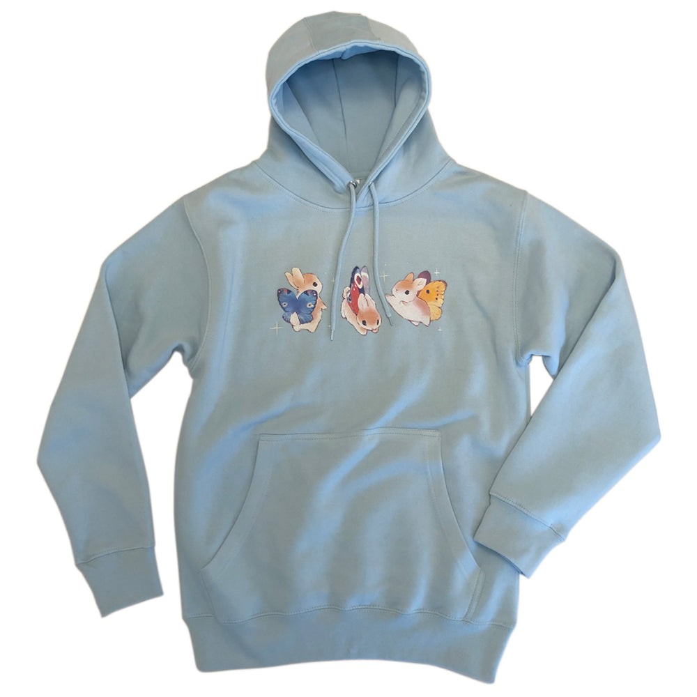 Heathersketcheroos: Bunnerfly Lines Adult Light Blue Hoody