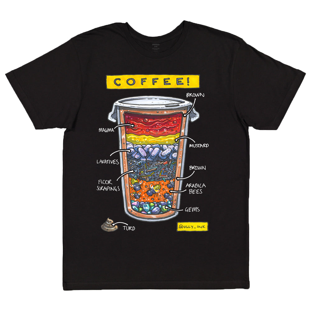 Ugly Ink: Coffee black short sleeve adult tee