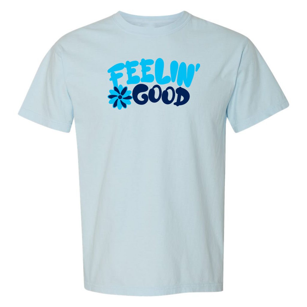 Feelin' Good Adult Unisex Short Sleeve Tee- Light Blue