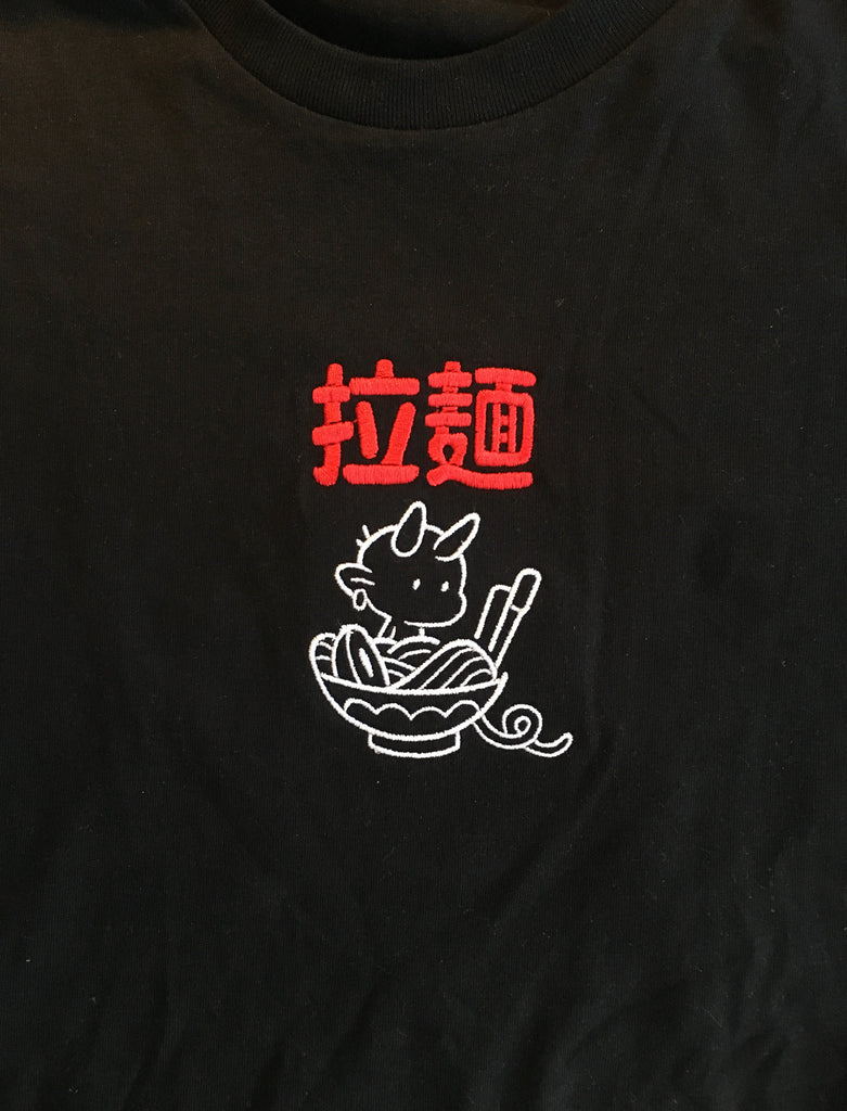 Levitzo: Ramen Demon Embroidered Tee Black