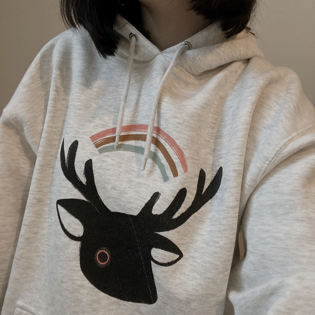 Lois Hannah: Dark Deer Adult Unisex Hoodie Oatmeal Heather