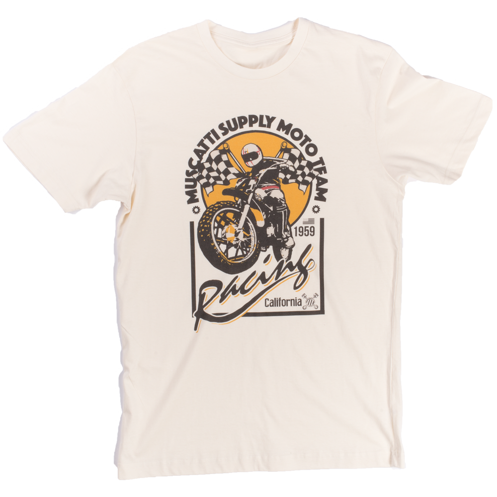 Muscatti : Moto Team Mens Short Sleeve Tee Vintage White